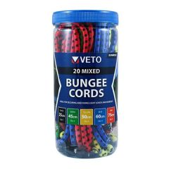 Veto BUNMIX8 Mixed Bungee Cords 25/60/80cm 20 Pack