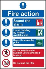 Fire Action Procedure sign PVC Self Adhesive 200x300mm