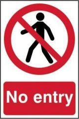 No Entry Sign PVC Self Adhesive 200x300mm