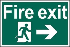 Fire Exit Running Man Right Sign PVC Self Adhesive 300x200mm
