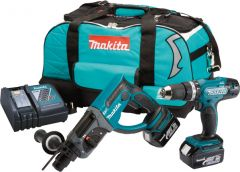 Makita DLX2025M SDS & Combi Twin Pack 2 x 4ah Batteries & Kit Bag