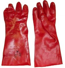 Red PVC Gauntlet Glove 18""