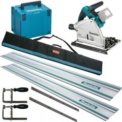 Makita DSP600 Twin 18v Plunge Saw Kit with 2 rails, bag, clamps & connector