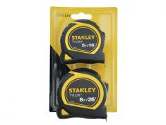 Stanley Tylon Tape Measure 5m/16' & 8m/26' Twin Pack